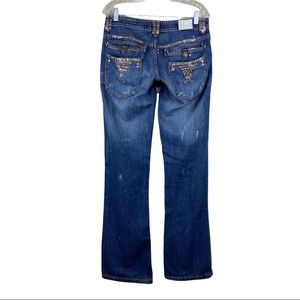 Taverniti SO Los Angeles Janis Distressed Button Details Flare Leg Bootcut Jeans